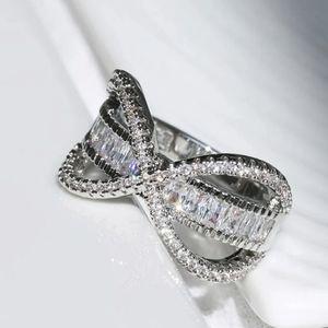 Platinum Crystal Baggett Ring S8